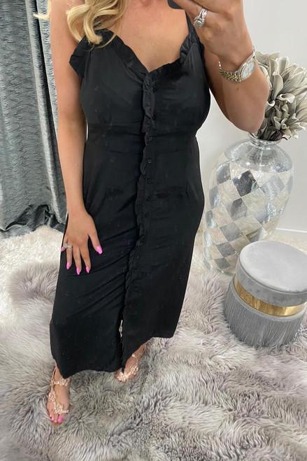 Vivy Black Ruffle Midi Dress