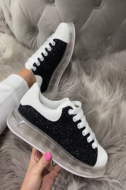 Lush Black Glitter Trainers
