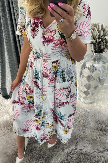 Bryony White Floral Button Midi Dress
