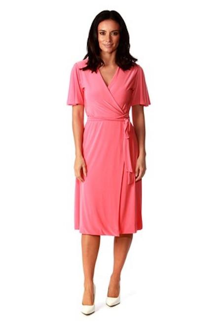 Amy Pink Wrap Over Midi Dress
