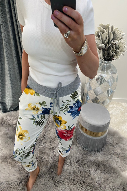 White Floral Denim Draw String Joggers