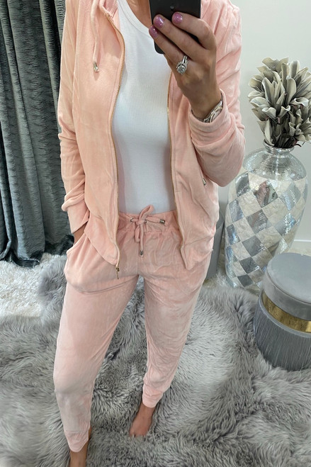 Baby Pink Velour Loungesuit