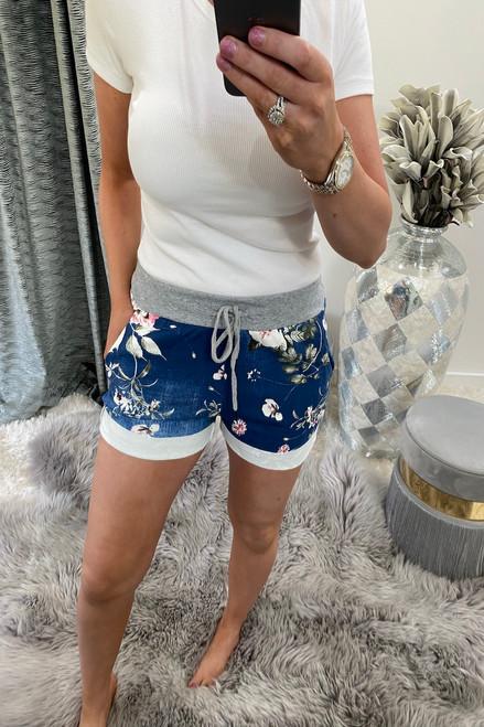 Dark Floral Drawstring Shorts