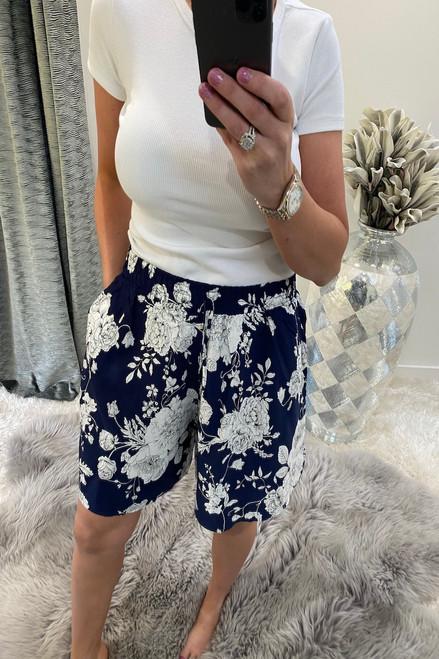Navy Floral Bloom  Shorts