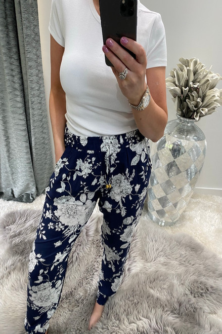 Navy Floral Bloom  Elasticated Trousers
