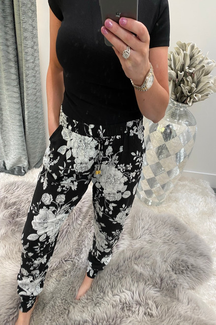 Black Floral Bloom  Elasticated Trousers