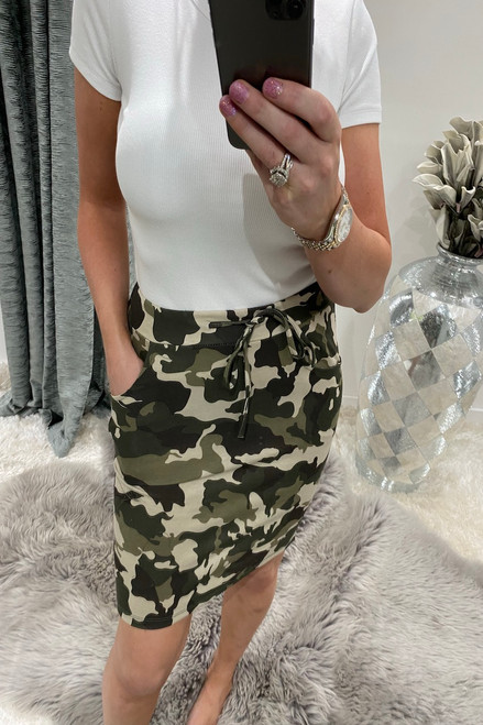 Green Army Drawstring Skirt