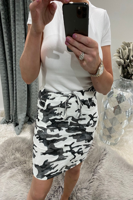 White  Army Drawstring Skirt