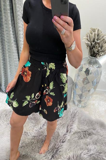 Melrose Black  Floral Print  Shorts