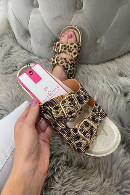 Leopard  Buckle Diamond  Sliders