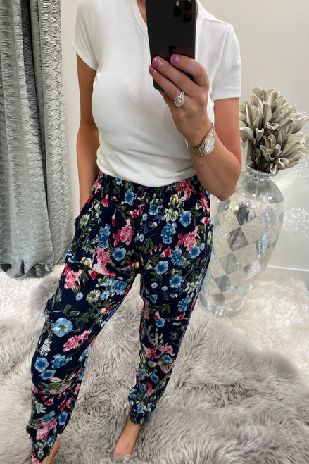 Navy  Rome Floral Elasticated Trousers