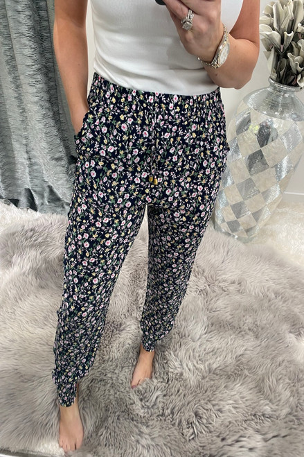 Ottavia Navy Ditzy  Floral  Elasticated Trousers