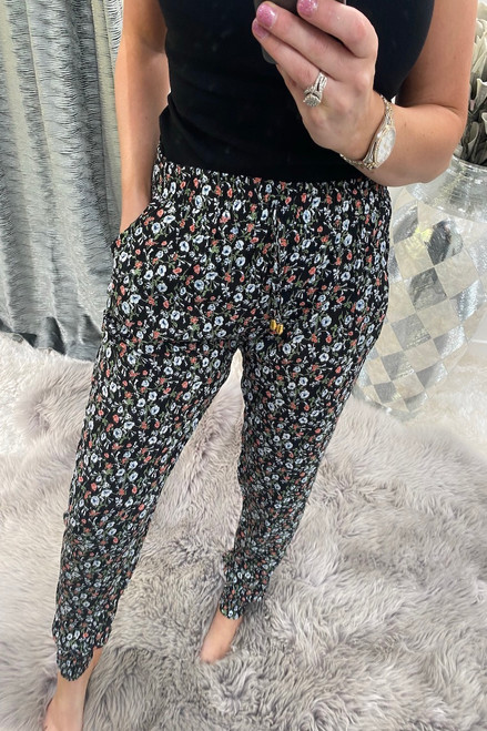 Ottavia Black Ditzy  Floral  Elasticated Trousers