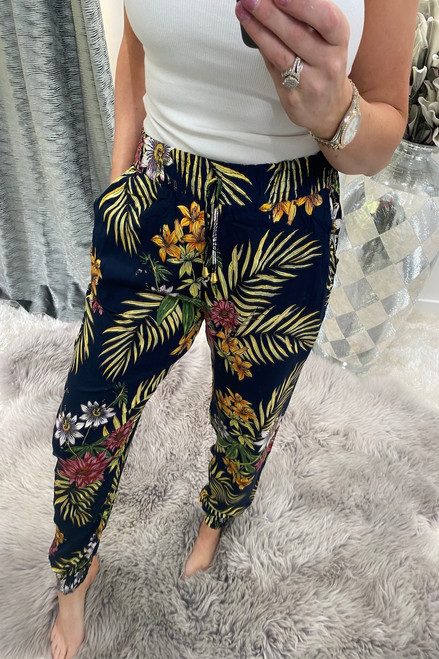 Emmy Navy Floral  Elasticated Trousers
