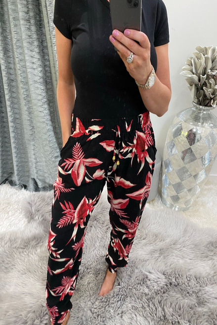 Dallas Black & Red Leaf  Elasticated Trousers