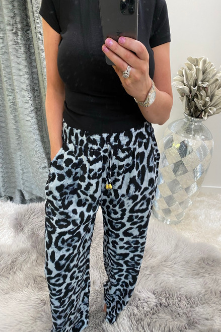 Grey Leopard Relaxed  Elasticated Trousers