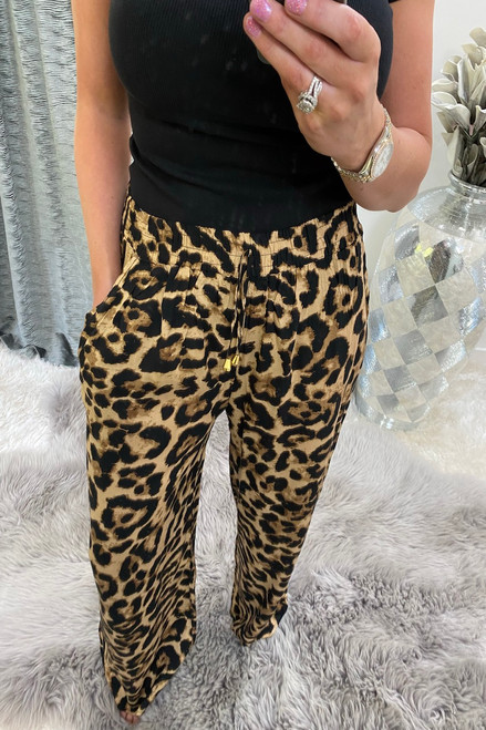 Brown Leopard Relaxed  Elasticated Trousers