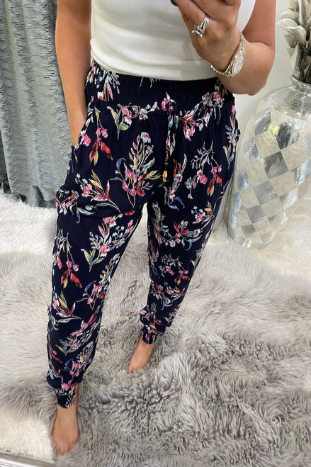 Stark Navy Floral Elasticated Trousers