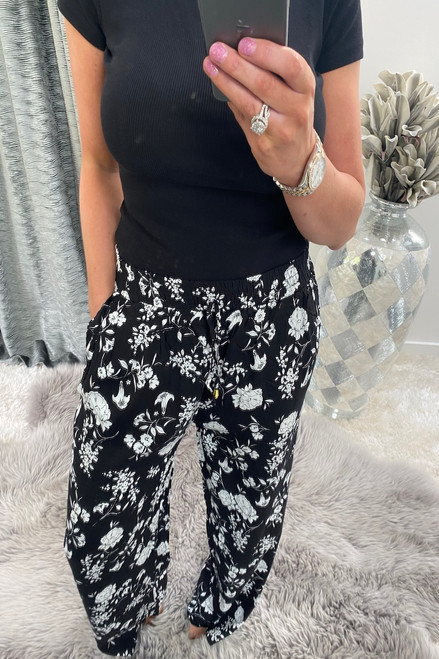 Black Floral Bloom Relaxed Elasticated Trousers