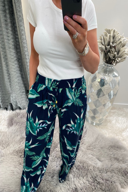 Dallas Navy Relaxed Elasticated Trousers