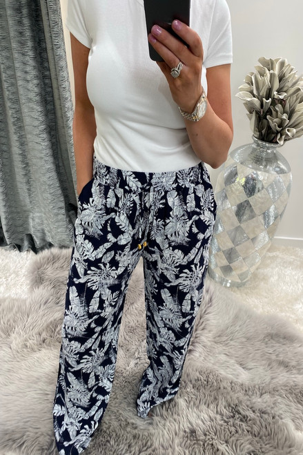 Navy  California  Relaxed Elasticated Trousers