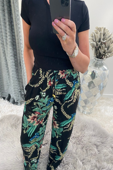 Milana Black Relaxed Elasticated Trousers