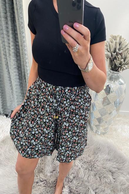 Ottavia Black Floral Shorts