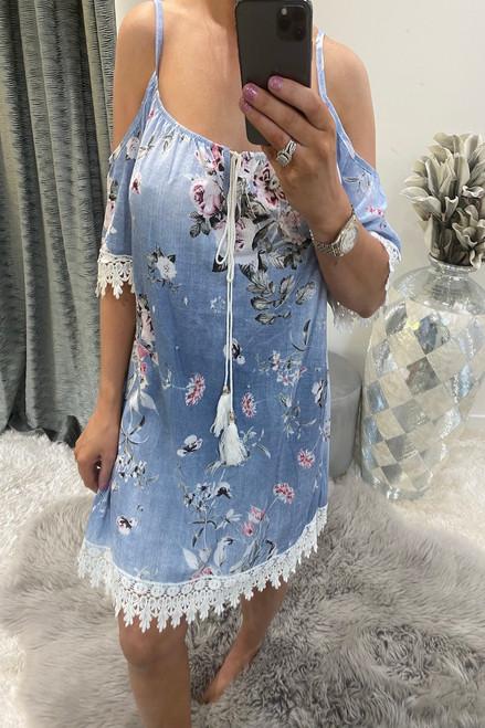 Light Floral Cold Shoulder  Dress