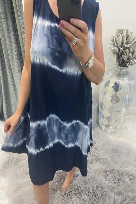 Navy Tie Dye Summer  Dress