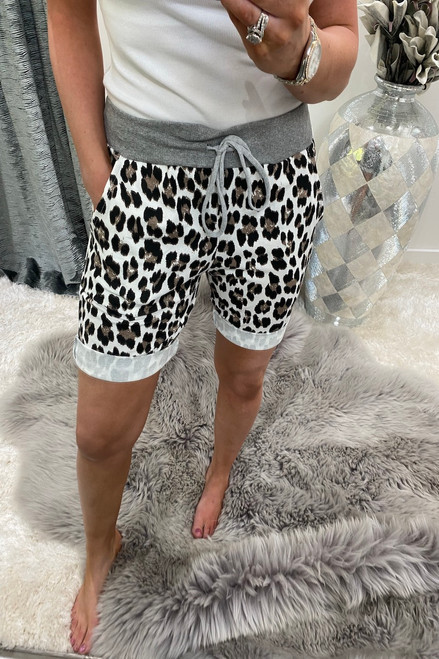 White Leopard Brown Spot Drawstring Shorts