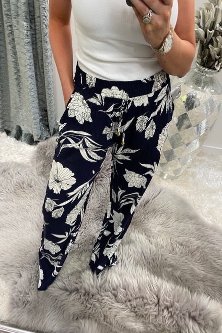 Mayfair Navy Relaxed Elasticated Trousers