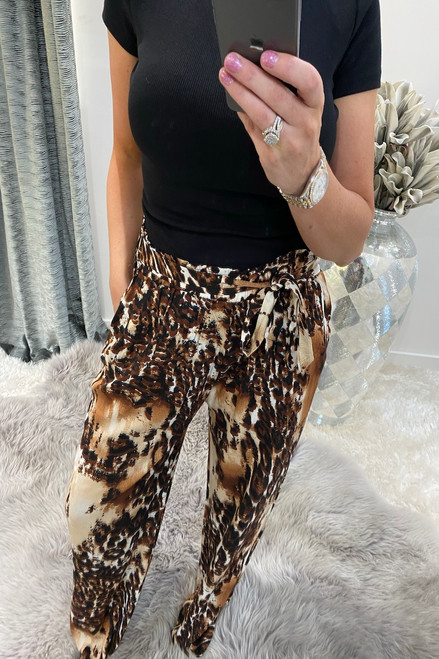 Brown Liora Leopard  Relaxed  Elasticated Trousers
