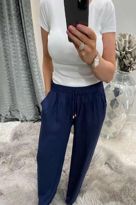 Navy Relaxed Elasticated Trousers