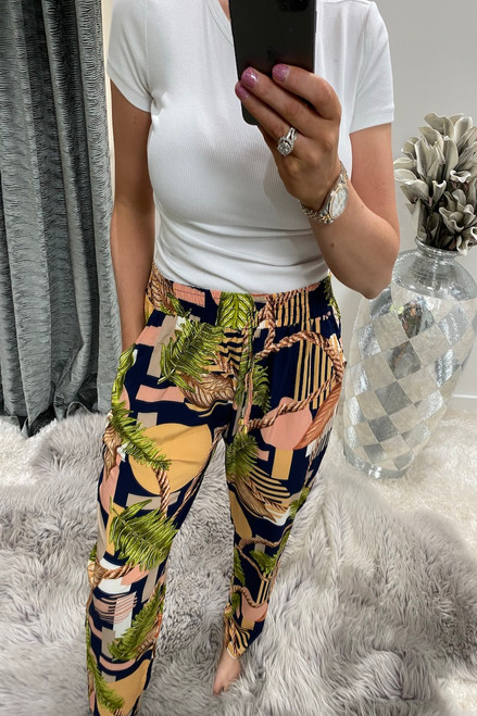 Navy Pattern Floral Chain Elasticated Trousers