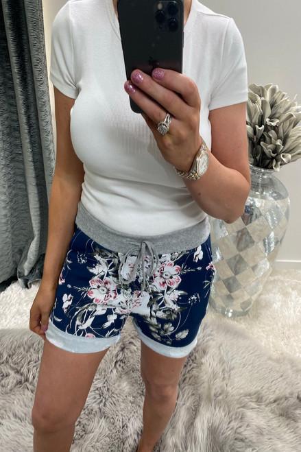 Ana Navy Drawstring Shorts