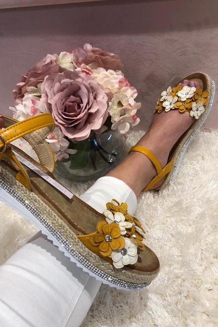 Seville Yellow Flower Sandals.
