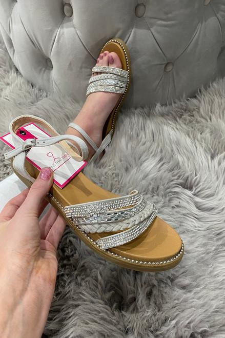 Boom  Silver  Diamond Sandals