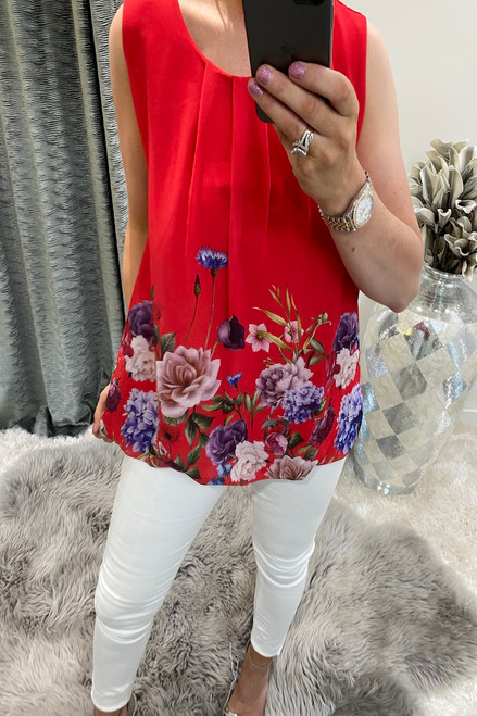 Red Coast Floral Blouse