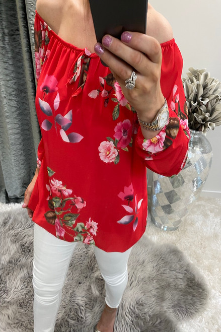 Clarissa Red Floral Blouse