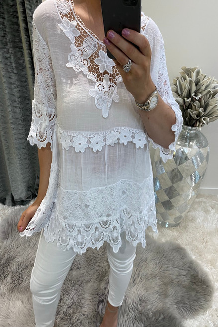 Luxury White Crochet Flower Top