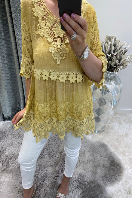 Luxury Mustard Crochet Flower Top