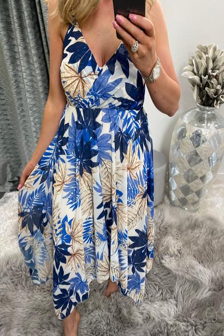 Blue & Cream Floral Wrap Skater Dress