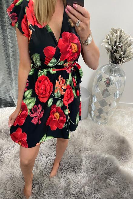 Black Peony Floral Skater Dress