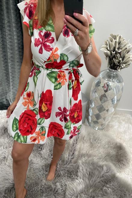 White Peony Floral Skater Dress