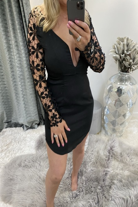 Lux Crochet V Bar Bodycon Black