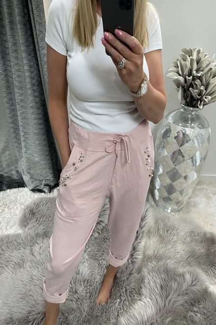 Pink rene Diamond Joggers