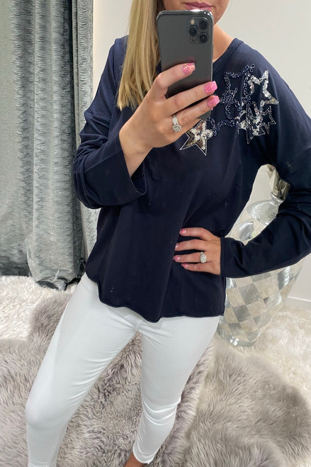 Navy Sequin Star Detail Lounge Top
