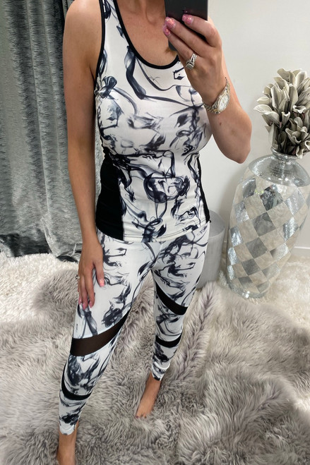 White Marble Gym Vest Top
