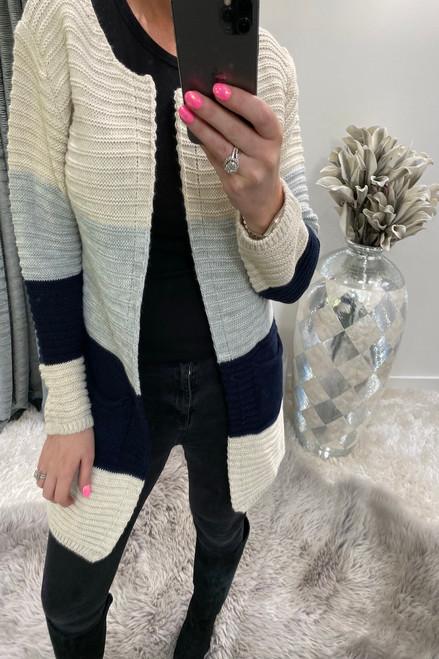 Manuela Beige Colour Block Knitted Pocket Cardigan