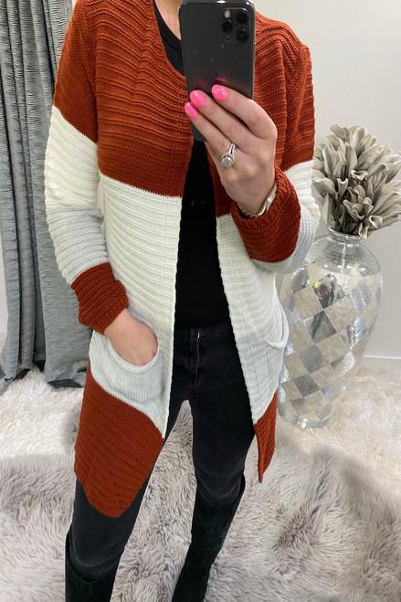 Manuela Rust Colour Block Knitted Pocket Cardigan